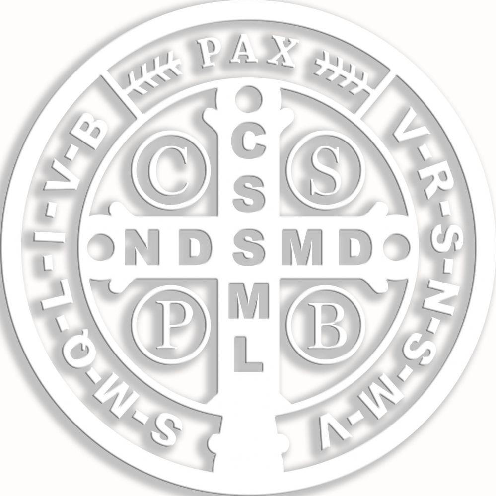Armario De Quarto Casal ~ Adesivo De Carro Medalha De Sao Bento 09Cm Branco na Cia das Festas