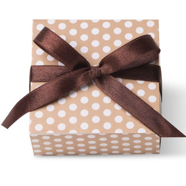 Caixa Para Lembrancinha Quadrada Poa Dourad/Branco