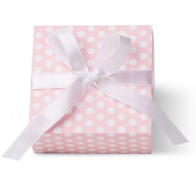 Caixa Para Lembrancinha Quadrada Poa Rosa/Branco F
