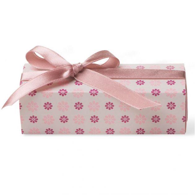 Caixa Para Lembrancinha Retangular Flor Bege/Rosa