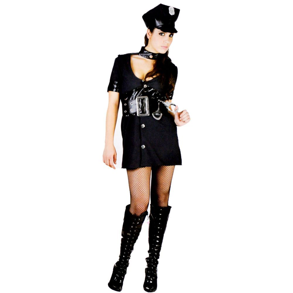 c64f81f73 Fantasia Cosplay Adulto Policial Feminina P   M na Cia das Festas